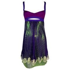 S/S 2003 Gianni Versace Runway Purple & Green Chain Mail Metal Mini Dress