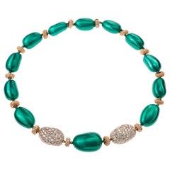 Sabbadini Gold, Steel and Diamond Necklace
