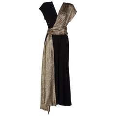 Saint Laurent Black and Gold Crepe Sash Dress Runway YSL , 1986