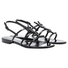 Saint Laurent Cassandra Logo-Embellished Patent-Leather Sandals