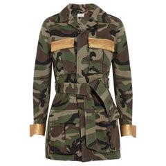 Saint Laurent Leather-Trimmed Printed Cotton-Gabardine Jacket