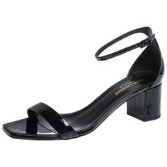 Saint Laurent Paris Black Patent Leather Loulou Ankle Strap Sandals Size 38