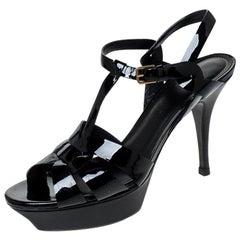 Saint Laurent Paris Black Patent Leather Tribute Platform Sandals Size 39.5