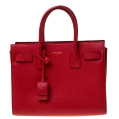Saint Laurent Paris Red Leather Baby Sac De Jour Tote