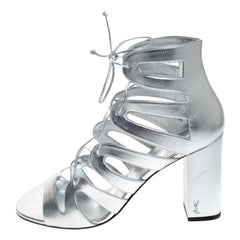 Saint Laurent Paris Silver Leather Gladiator Ankle Wrap Sandals Size 41