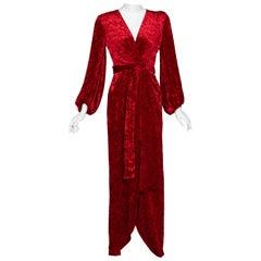 Saint Laurent Red Crushed Velvet Plunge Wrap Maxi Dress YSL Runway, 1985