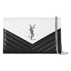Saint Laurent Women's Shoulder Bag Black/White Leather