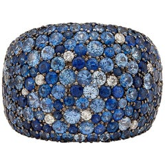 Salavetti Sapphire and Diamond Pave Ring
