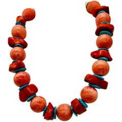 Salmon and Red Coral ,and Arizona Turquoise spacers ,Necklace by Sylvia Gottwald