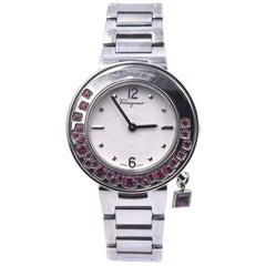Salvatore Ferragamo Stainless Steel Sparking Pink Topaz Gancino Ladies Watch