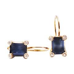 Samantha Knight Blue Sapphire and Diamond Shepherd Hook Drop Earrings 2.50 Carat