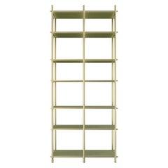 Samir I Luxury Bookeshelf, Interlocking Metal Structure and Wooden Shelves