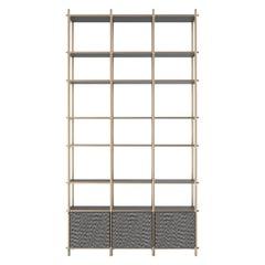Samir II Luxury Bookshelf, Interlocking Metal Structure, Wooden Shelves