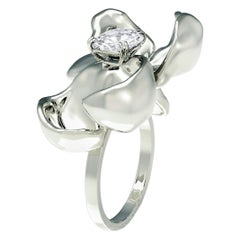 Sample Sale White Gold Magnolia Cocktail Ring with 0.62 Carat Diamond