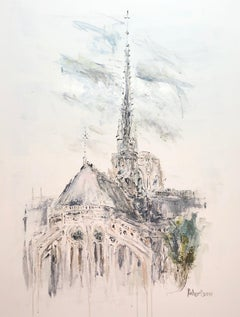 The Spire, Notre Dame by Sarah Robertson Paris Painting with Blue Painting
