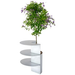 Satin Aluminum Side Table Planter by Birnam Wood Studio