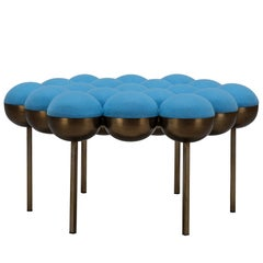 Saturn Pouffe Large, Dark Brass Frame and Blue Wool by Lara Bohinc, In Stock