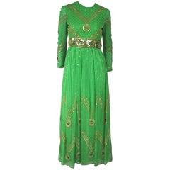 Saz Surjit & Adash Gill Gown Beaded Silk Dress 1970s