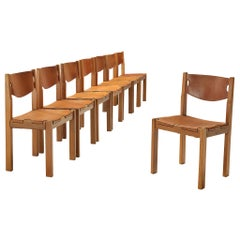 Scandinavian Dining Chair with Cognac Leather