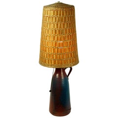 Scandinavian Modern Blue Ceramic Table Lamp with Original Wicker Shade