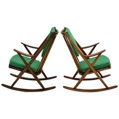 Scandinavian Modern Pair of Green Beech Vintage Rocking Chair Frank Reenskaug