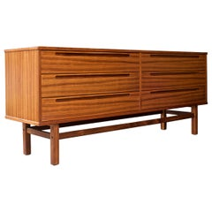 Scandinavian Sleek Striped Teak Long Dresser Bureau Cabinet Danish Midcentury