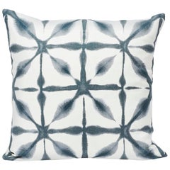 "Schumacher Andromeda Japanese Style Indigo White Two-Sided 18"" Linen Pillow"