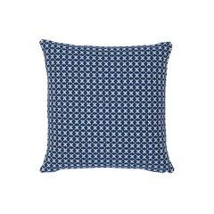 Schumacher Elias Blue Ivory Cotton Two-Sided Pillow