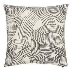 Schumacher Freeform Black Linen Pillow