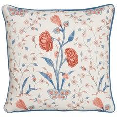 Schumacher Khilana Floral Delft Rose Linen Cotton Two-Sided Pillow