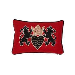 Schumacher Lionheart Applique Black Gold Red Cotton Wool Lumbar Pillow
