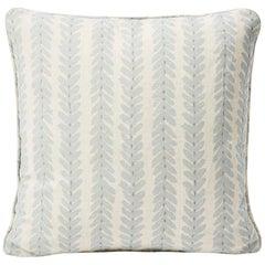 Schumacher Modern Classic Woodperry Woven Blue Two-Sided Linen Pillow