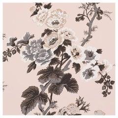 Schumacher Pyne Hollyhock Floral Chintz Blush Wallpaper
