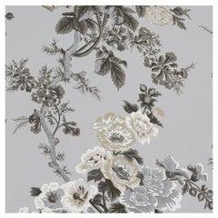 Schumacher Pyne Hollyhock Floral Chintz Grisaille Wallpaper