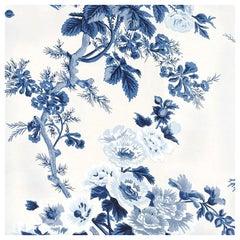Schumacher Pyne Hollyhock Floral Chintz Indigo Wallpaper