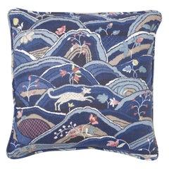Schumacher Rolling Hills Blue Two-Sided Linen Pillow