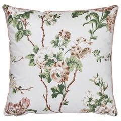Schumacher X Veere Grenney Betty Chintz Quiet Pink Two-Sided Cotton Pillow
