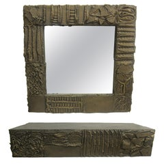 Sculpted Bronze Mirror and Wall Mounted Console by Paul Evans