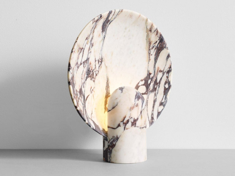 Modern Sculpted Calacatta Viola Marble Lamp by Henry Wilson For Sale