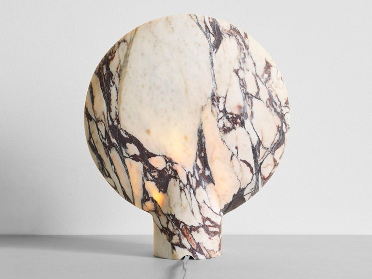 Australian Sculpted Calacatta Viola Marble Lamp by Henry Wilson For Sale