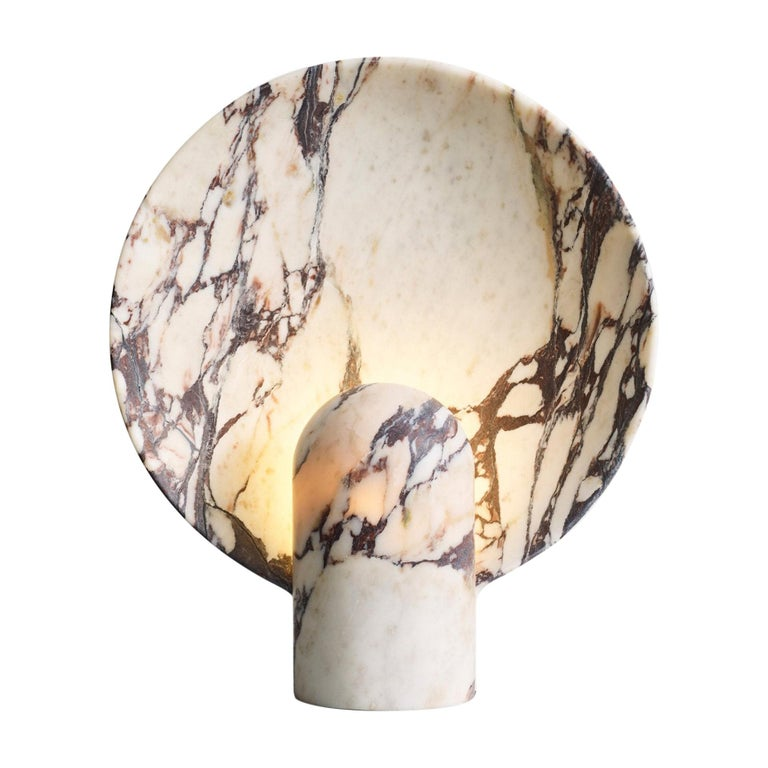 Sculpted Calacatta Viola Marble Lamp by Henry Wilson For Sale