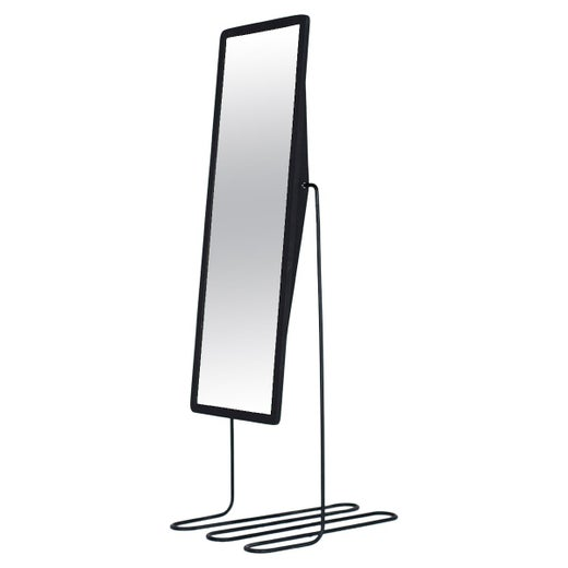 Sculptural Base Reality Mirror Maple Frame with Coiled Steel Base