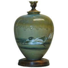 Sea Green Rookwood Style American Arts & Crafts Vase Mounted as a Lamp