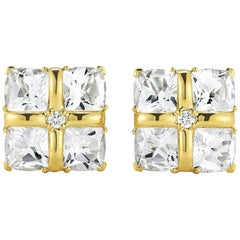 Seaman Schepps 18 Karat Yellow Gold Quad Diamond Earrings