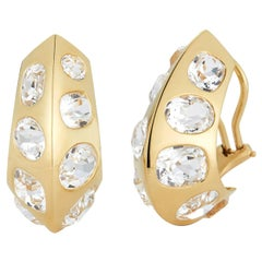 Seaman Schepps Antibes 18 Karat Yellow Gold White Topaz Earrings