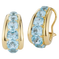 Seaman Schepps Blue Topaz 18 Karat Yellow Gold Madison Earrings