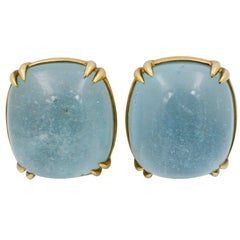 Seaman Schepps Capri 18 Karat Yellow Gold Blue Topaz Earrings