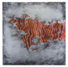 Copper Metal Wall Art Sculpture Silver Gray Aluminum Modern Contemporary Decor