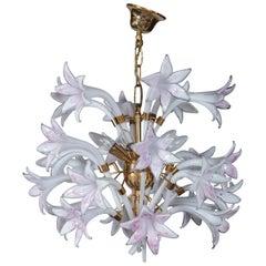 Seguso Murano Venetian Glass Style Lily Chandelier
