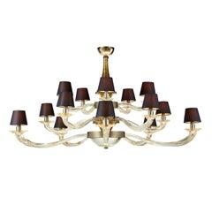 Seguso Vetri d'Arte Murano Glass Nelle Alpi Chandelier, Clear Gold and Bronze